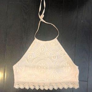 Pink lace halter crop top